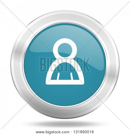 person icon, blue round metallic glossy button, web and mobile app design illustration