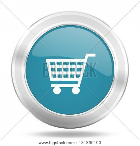 cart icon, blue round metallic glossy button, web and mobile app design illustration