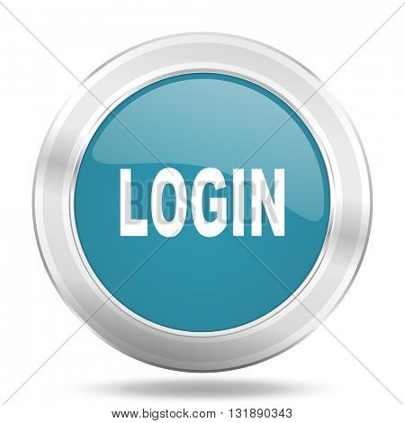 login icon, blue round metallic glossy button, web and mobile app design illustration
