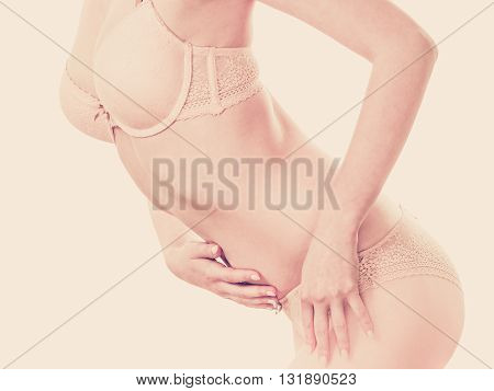 Slim Woman Body Wearing Lingerie