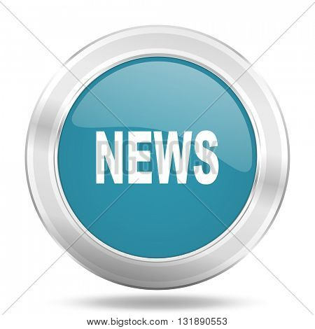 news icon, blue round metallic glossy button, web and mobile app design illustration