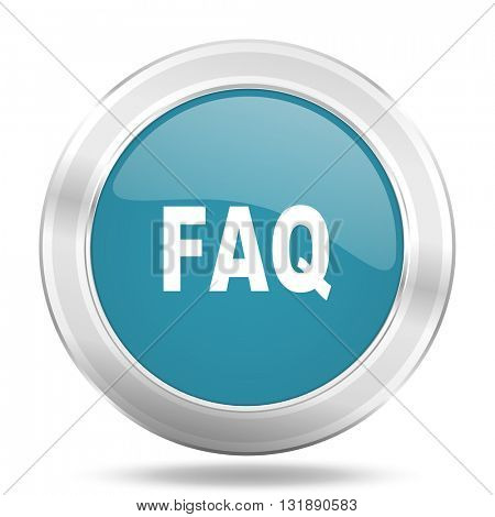 faq icon, blue round metallic glossy button, web and mobile app design illustration