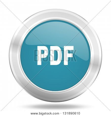 pdf icon, blue round metallic glossy button, web and mobile app design illustration