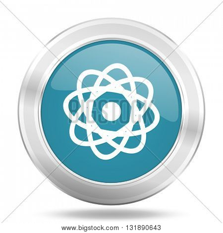 atom icon, blue round metallic glossy button, web and mobile app design illustration