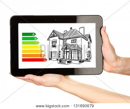 Woman hands holding tablet with house sketch project isolated on white