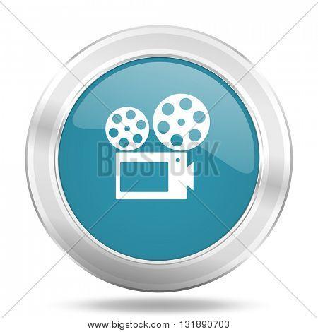 movie icon, blue round metallic glossy button, web and mobile app design illustration