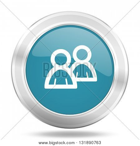 forum icon, blue round metallic glossy button, web and mobile app design illustration
