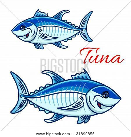 Cartoon atlantic bluefin tuna characters. For aquarium zoo or sporting fishing mascot design with large smiling tunnies fishes with silvery blue scales and dark stripe on spine