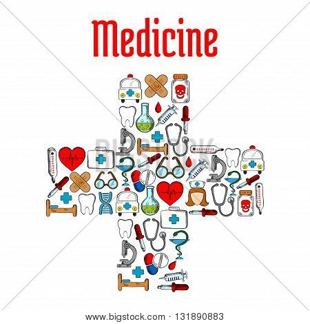 Medicine and hospital symbols in a shape of medical cross with sketch icons of pills and syringes, stethoscopes and thermometers, hearts and teeth, ambulances and first aid kits, blood drops and doctor, pharmacy and hospital signs, DNA and glasses