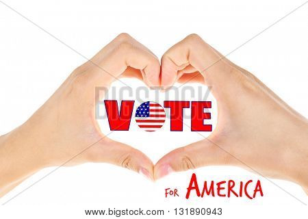 Heart shaped female hands and Vote for America text isolated on white