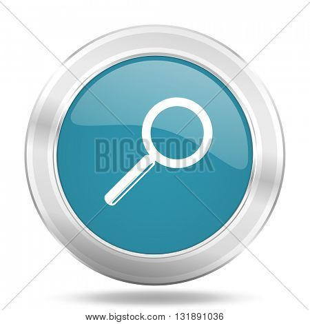 search icon, blue round metallic glossy button, web and mobile app design illustration