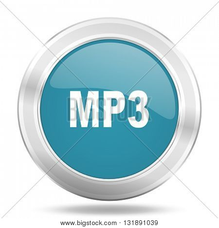 mp3 icon, blue round metallic glossy button, web and mobile app design illustration