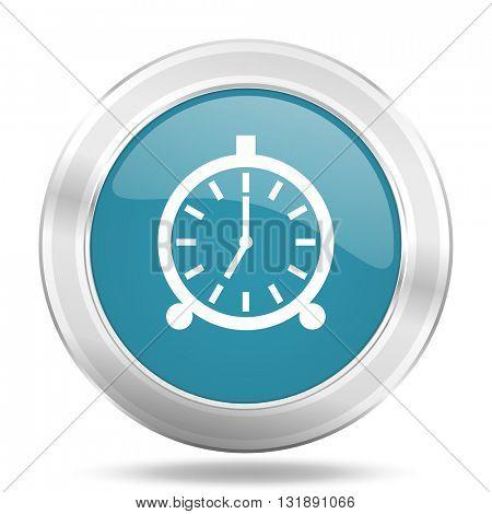 alarm icon, blue round metallic glossy button, web and mobile app design illustration
