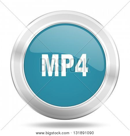 mp4 icon, blue round metallic glossy button, web and mobile app design illustration