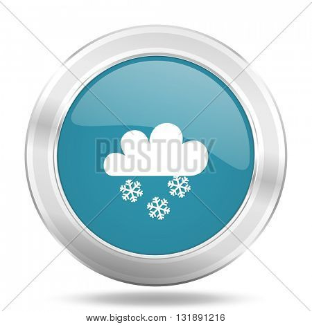 snowing icon, blue round metallic glossy button, web and mobile app design illustration