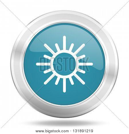 sun icon, blue round metallic glossy button, web and mobile app design illustration
