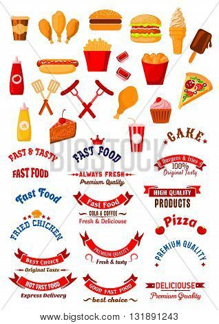 Fast food cafe retro design elements with burgers and hot dog, cake and cupcake, french fries and fried chicken, coffee and soda cups, pizza and ice cream, grilled sausages with sauces, forks and spatulas, ribbon banners and stars