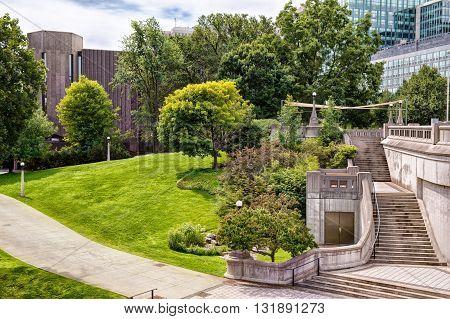 Urban park at sunny day, Ottawa city, Canada