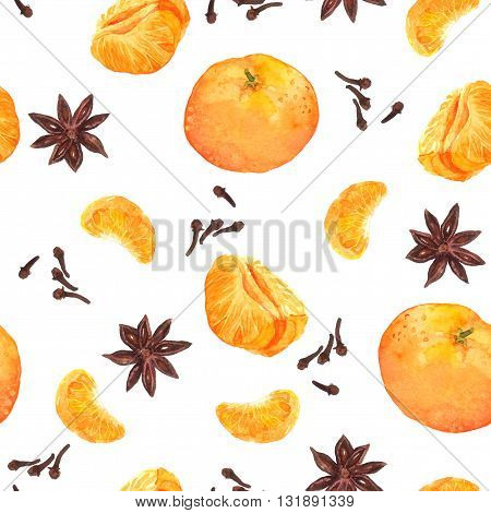 Species: nutmeg, cloves, anise, cinnamon and fruits for cook. Repeated watercolor wallpaper.