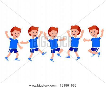 Cute vector character child Boy in different motion. Cheerful child. Happy kid illustration. Detailed character child. Vector for Celebration children day, fun child.
