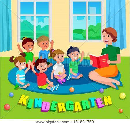Cute vector character child. Cheerful child. Happy kid illustration. Detailed character child. Vector for Education and child development. Banner for the kindergarten or children club