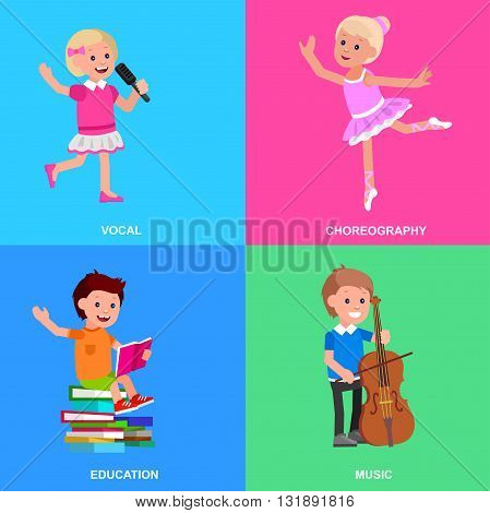 Cute vector character child. Happy kid illustration reading a book, playing on contrabass, dancing. Education and child development. Banner for the kindergarten or children club, school of Arts