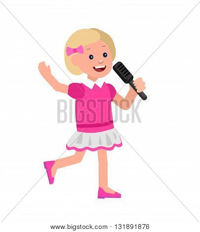 Cute vector character child. Happy kid girl sings. Education and child development. Banner for kindergarten, children club or school of Arts, music school