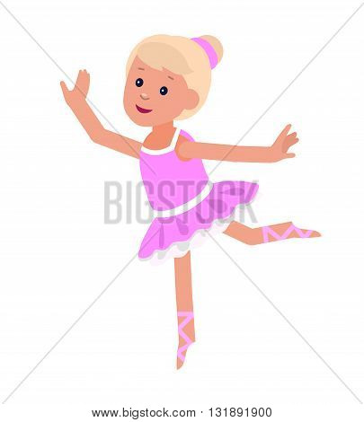 Cute vector character child . Cheerful child. Happy kid girl dancing ballet. Education and child development. Banner for kindergarten or children club, school of Arts