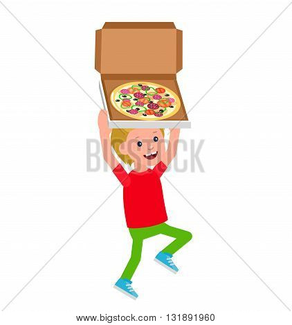 Cute vector character child. Cheerful child. Happy kid boy with pizza. Fun child.