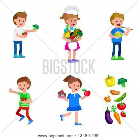 Cute vector character child and healthy food. Child with vegetables, cooking girl, kid girl chooses between apple and cake, boy eating breakfast. Happy kid illustration. Detailed character child