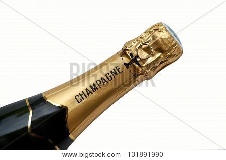 Close up of a French bottle of Champagne wine