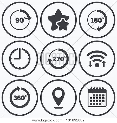 Clock, wifi and stars icons. Angle 45-360 degrees circle icons. Geometry math signs symbols. Full complete rotation arrow. Calendar symbol.