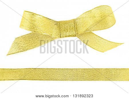 Golden bow and ribbon isolated on white