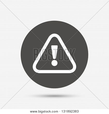 Attention sign icon. Exclamation mark. Hazard warning symbol. Gray circle button with icon. Vector