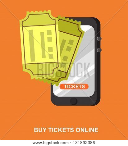 Vector movie ticket in flat style. Cinema movie poster or banner template. Online ticket concept