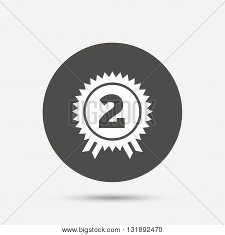 Second place award sign icon. Prize for winner symbol. Gray circle button with icon. Vector