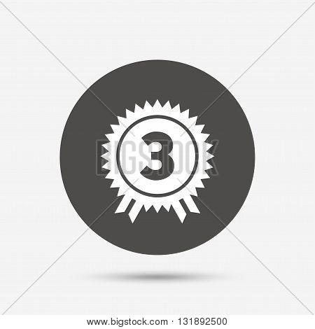 Third place award sign icon. Prize for winner symbol. Gray circle button with icon. Vector