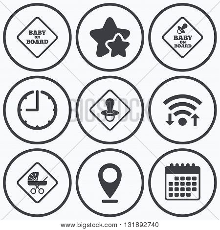 Clock, wifi and stars icons. Baby on board icons. Infant caution signs. Child buggy carriage symbol. Calendar symbol.