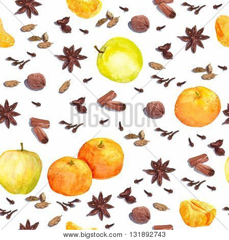 Species and fruits for cook: nutmeg, cloves, anise, cinnamon and others. Repeated watercolor wallpaper.