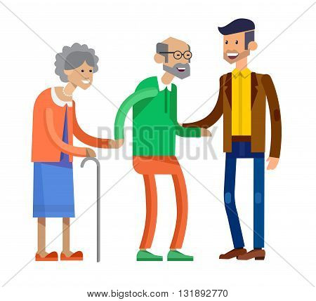 Detailed character people family. Characters family, old parents and adult son. Family illustration. Vector Family isolated on white background