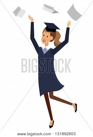 Vector character graduate and students, university students graduation. University courses and exam preparation, vector graduate, illustration graduate
