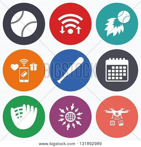 Wifi, mobile payments and drones icons. Baseball sport icons. Ball with glove and bat signs. Fireball symbol. Calendar symbol.