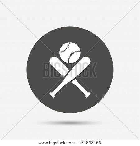 Baseball bats and ball sign icon. Sport hit equipment symbol. Gray circle button with icon. Vector