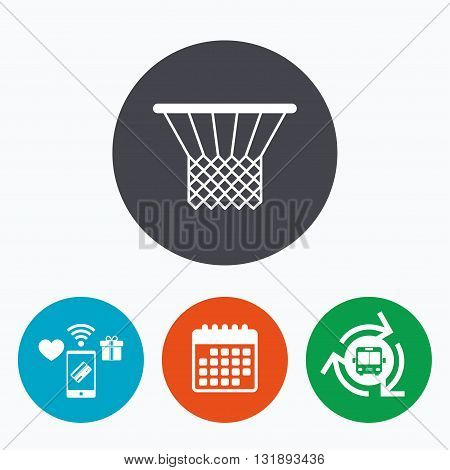 Basketball basket sign icon. Sport symbol. Mobile payments, calendar and wifi icons. Bus shuttle.