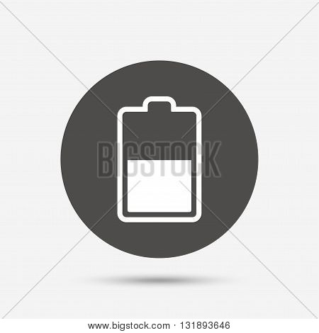 Battery half level sign icon. Low electricity symbol. Gray circle button with icon. Vector