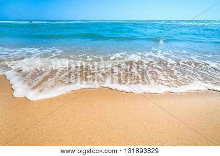 Summer Landscape - Relax on the  Beach, Blue Sea and Clean Sand with copy space