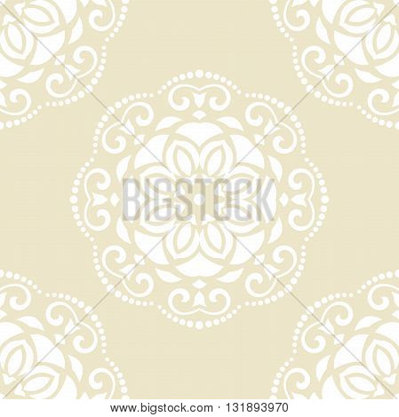 Oriental classic pattern. Seamless abstract yellow and white background