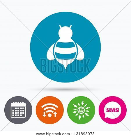 Wifi, Sms and calendar icons. Bee sign icon. Honeybee or apis with wings symbol. Flying insect. Go to web globe.