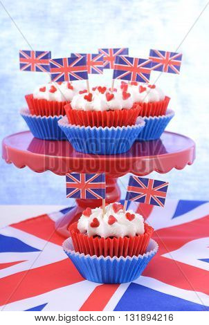 Party Cupcakes With Uk Flags