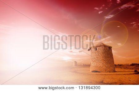 Old windmill ai Gyra beach, Lefkada Greece